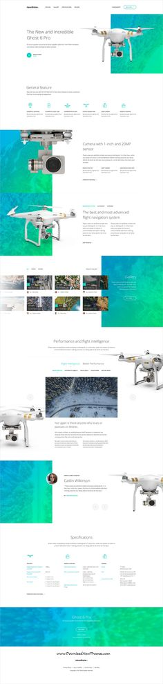 Newdrone is clean and modern design #PSDtemplate for onepage #drone sale landing page #website to live preview & download click on Visit