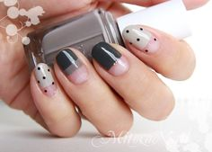 Gray, black, and polka dot nail art #graynails #blacknails