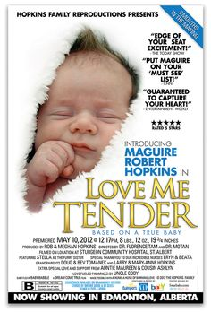 Announce newborn, creative idea, baby movie poster, boy announcement, love me tender #Birth_Announcements #baby #announcements