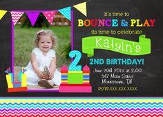 Chevron Bounce House Birthday and Dots Birthday Printable Invitation on Etsy, $12.00