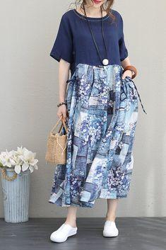 Women Long Blue Dresses Summer Linen Floral Clothes Q1137
