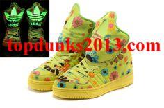 7c4cbd06d8b1 New Jeremy Scott M Attitude Logo Womens GID Adidas Originals Flower Shoes  Yellow Green