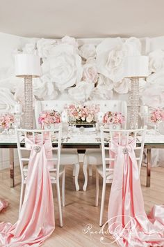Paper Flowers Creative Wedding Shoot - Wedding Decor Toronto Rachel A. Wedding Reception Backdrop, Wedding Chairs, Wedding Table, Reception Halls, Reception Ideas, Large Paper Flowers, Paper Flower Wall, Wall Flowers, Pink Flowers