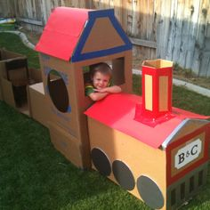 Cardboard train. Huge hit for ages 1-7!