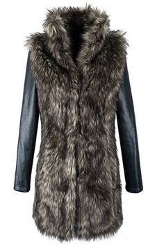 PU Leather Coat with Chamois Fur Raglan Sleeves $180