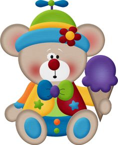 Circus Bear With Ice Cream - Clown Bear Watch, Adult Unisex, Lavender / Clipart - Full Size Clipart ( - PinClipart Circus Birthday, Circus Theme, Circus Party, Birthday Wishes, Watercolor Clipart, Teddy Bear Images, Clown Party, Le Clown, Birthday Clipart