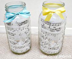 One Artsy Mama: Sheet Music and Mason Jar Centerpieces