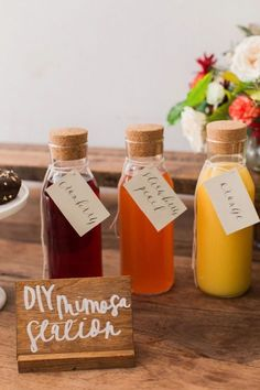 A DIY mimosa station is a must! http://www.stylemepretty.com/living/2015/11/24/parris-chic-boutique-calligraphy-class-a-giveaway/ | Photography: Elena Wolfe - http://elenawolfe.com/