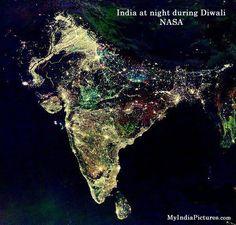 2011 India at night during Diwali Festival - fireworks. Satellite-NASA.