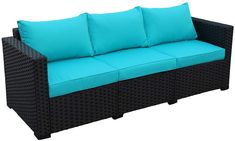 Buy Patio PE Wicker Couch - Outdoor Black Rattan Sofa Furniture with Turquoise Cushion Wicker Patio Furniture Sets, Wicker Dining Set, Sofa Furniture, Dining Sets, Turquoise Cushions, Green Cushions, Rattan Loveseat, Wicker Couch
