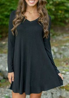 Simple Style Black V-Neck Long Sleeve Loose Mini Dress For Women