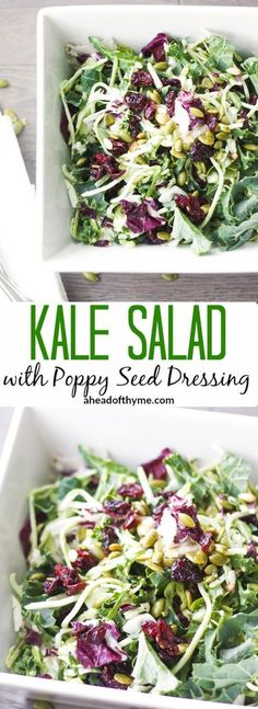 Healthy Recipes Kale Salad with Poppy Seed Dressing: Get your kale fix with this delicious kale… - Get your kale fix with this delicious, crunchy kale salad with poppy seed dressing, toasted pumpkin seeds and dried cranberries. Kale Recipes, Healthy Salad Recipes, Vegetarian Recipes, Cooking Recipes, Vegetarian Salad, Top Recipes, Cooking Tips, Toasted Pumpkin Seeds, Soup And Salad
