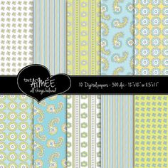 Digital Scrapbooking Patterns  Pastel Blue Yellow by ToutAimee, $6.00