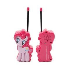 Friendship truly is magic with this new My Little Pony Walkie Talkie Set. This Walkie Talkie Toy Set featuring Pinkie Pie includes 2 walkie talkies with flexible safety antennas, push to talk buttons, volume control switches, and battery saving on/off switches.