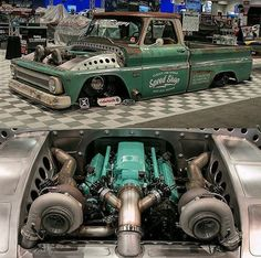 Hot Wheels - Yeah twin turbos and air suspension is a sure way to stand out at #sema2016 , @classic_car_studio have it sorted with their C10! @kcoxphoto #chevrolet #gmc #c10 #truckporn #hotrod #streetrod #streetmachine #carporn #turbo #boost...