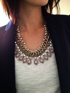 statement necklace + blazer