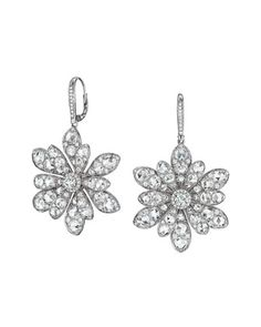 18k White Gold Round and Rose-Cut Diamond Flower Drop Earrings by Maria Canale for Forevermark at Neiman Marcus.