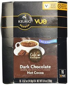 Café Escapes Vue Cups for Keurig Vue Brewers (Dark Chocolate Hot Cocoa, 16 Count) - http://bestchocolateshop.com/cafe-escapes-vue-cups-for-keurig-vue-brewers-dark-chocolate-hot-cocoa-16-count/