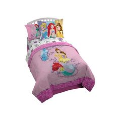 Disney Princess Dreams The image of an overstuffed bed hidden beneath sheer canopy drapes just about defines a princess's bedroom. Make your child's room feel just as magical with this 5-piece Disney Princess Bed In a Bag! Picturing Arielle, Cinderella, and Belle the officially licensed twin-size bedding is sure to turn bedtime into something out of a fairytale for your child! Disney Princess Bedding, Disney Bedding, Mermaid Comforter, Twin Comforter, Girls Twin Bedding Sets, Beach Bedding, Luxury Bedding, Crib Bedding, Mermaid Tail Blanket