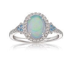 Oval Created Opal & Diamond Ring in 10k White Gold