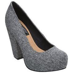 Bertie Junior Platform Court Shoes in dark grey - via johnlewis.com { I've always loved a textured grey shoe :))