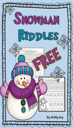 Snowman riddles--FREE math for second grade