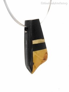 Exclusive Elegant Handmade Genuine Natural Baltic Sea Amber - Succinite - and Noble Variety of Wood - Ebony and Sterling Silver Cute BIZ1479