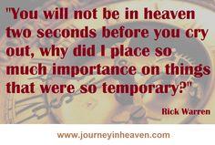 Quotes about heaven - Rick Warren Heaven Quotes, Rick Warren, Crying