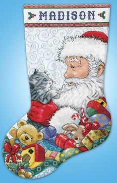 Design Works Santa and Kitten Christmas Counted by DebiCreations, $19.99