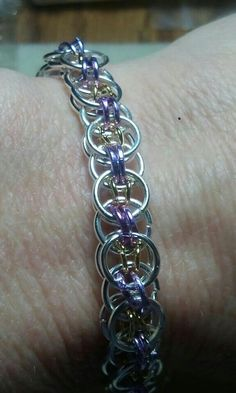 Silver, gold, and lavender helm weave bracelet