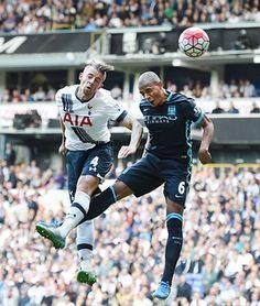 Fernandinho is beaten to the ball by a soaring Toby Alderweireld for Tottenham's second goal.
