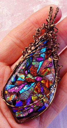 Floral+fused+dichroic+glass+wire+wrapped+by+ChrysalisDreams,+$62.00
