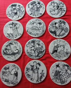 12 months of Wiinblad plaques . The story of a couple over a year. 12 Months, Coasters, Decorative Plates, Pottery, Couple, Studio, Home Decor, Ceramics, Japanese Ceramics