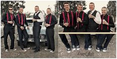 Rockabilly Wedding without the beers of course but I like the red suspenders on the guys