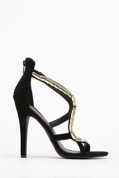 Shoe Republic Black Gold Snake Charmer Heel