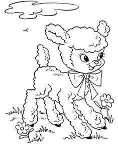 Easter Lamb Coloring page | Cute and Fluffy easter lamb