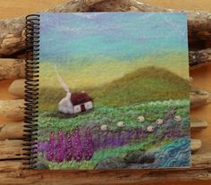 Sketchbook with Printed Cover Featuring a Cottage and Sheep Landscape Scene