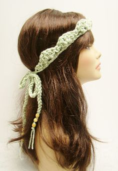 FREE SHIPPING - Tie-Up Crown Bohemian Headband with beads - Light Mint Green & Sage. $12.00, via Etsy.