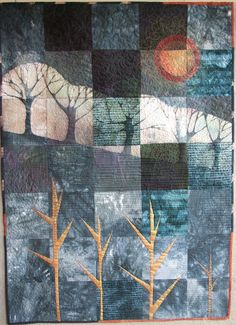 Linda Kemshall: Red Planet This quilt is pieced using cotton and linen fabrics with discharge printing, hand painting, stencilling and free motion quilting. Fiber Art Quilts, Textile Fiber Art, Textile Artists, Quilting Projects, Quilting Designs, Quilt Inspiration, Landscape Art Quilts, Landscapes, Batik Quilts