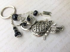Silver owl black Obsidian key chainInitial by LucKeyMe on Etsy