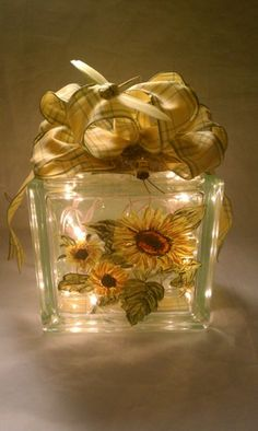 Hand Painted Lighted Glass Block Sunflowers Night Light Decoration | MyPaintedTreasures - Housewares on ArtFire