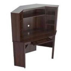 Inval Velvediere Espresso Wengue Corner Workstation with Hutch, Brown Space Furniture, Furniture Styles, Office Furniture, Wood Furniture, Corner Workstation, Desk With Keyboard Tray, Modern Tabletop, Corner Storage, Grey Desk