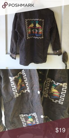 Vintage Native Oversized Embroidered Shirt Jacket Native emblem shirt. Could double as a jacket. Jackets & Coats
