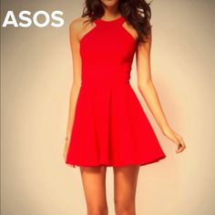 Reduced!! ❤️ASOS red flare skirt dress. Size 1 PLEASE ignore the bra!!! Size 1, petite. zipper in back, snaps with buttons on shoulders. Has some stretch!! Worn once. Model is a CURVY SIZE 2/3, snug on her. ASOS Red flare/skater dress. Super cute!! Back suspender strap look. Pic#1 is ASOS, last 3 are my actual dress. Party ready style. Only buy if u want to be noticed and a trend setter!!! Perfect for Valentines Day! ASOS Dresses