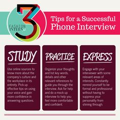[Infographic] 3 tips for a successful phone interview #tips #career