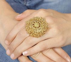 Buy Traditional Gold Plated Polki Ring Online in India at cooliyo : coolest products in India, hand-picked for you Hand Jewelry, Ruby Jewelry, Jewelery, India Jewelry, Tikka Jewelry, Choker Jewelry, Tassel Earrings, Bridal Jewelry, Gold Earrings