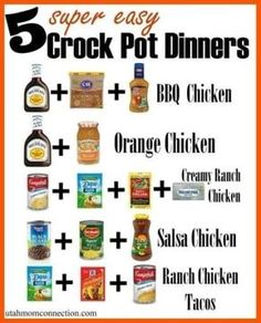 BBQ Chicken Chicken breasts (boneless,skinless) 16 oz bottle of BBQ Sauce (we like Sweet Baby Rays) cup Zesty Italian Dressing cup brown sugar Mix together ingredients. Put in crock pot. Cook low: hours or on Slow Cooker Desserts, Slow Cooker Recipes, Cooking Recipes, Diet Recipes, Budget Cooking, Food Budget, Soup Recipes, Vegan Recipes, Best Slow Cooker