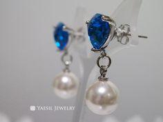 Trilliant Cut Glass Gem and Pearl Earrings, Pearl Drop Earrings, Cari Blue Earrings, Black Diamond Earrings by YaesilJewelry on Etsy