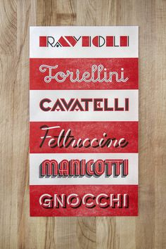 """Retro lettering for different types of pasta. The structured script of """"Tortellini"""" is great—and the ribbonlike flow of """"Fettucine""""!"""