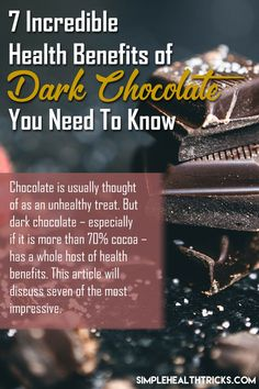 Chocolate is usually thought of as an unhealthy treat. But dark chocolate – especially if it is more than cocoa – has a whole host of health benefits. This article will discuss seven of the most impressive. Cacao Benefits, Health Benefits, Dark Chocolate Benefits, Cancer Fighting Foods, Cardiovascular Health, Need To Know, Health And Wellness, Cocoa, The Incredibles